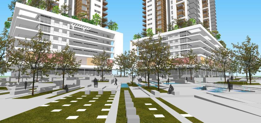 הדמייה של פרויקט המגורים של חברת אזורים בבת ים ( עיצוב חברת אזורים)