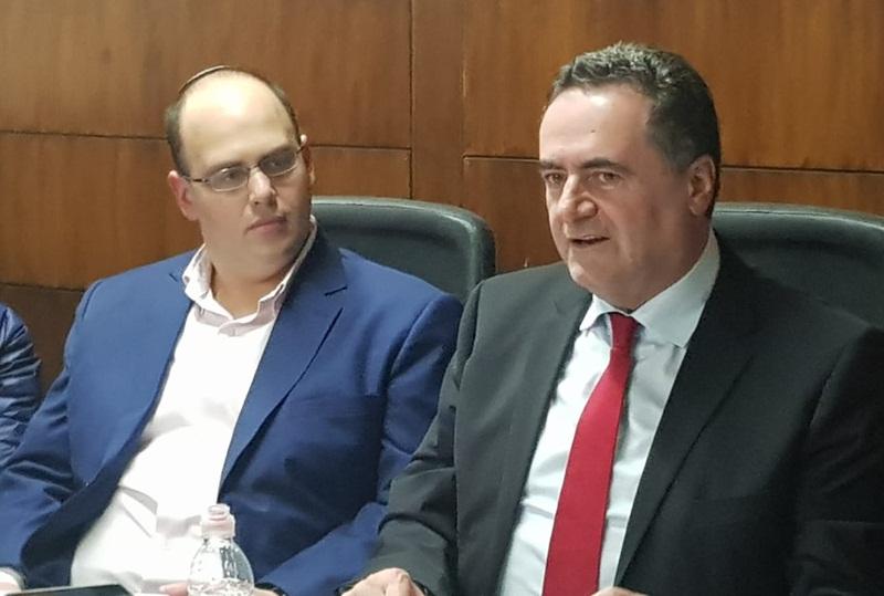 שר התחבורה ישראל כ''ץ וראש העירייה, צביקה ברוט. צילום: אביחי חיים